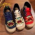 Vintage Embroidery Linen Shoes Thailand handmade Lotus flower embroidered national casual lace up canvas single shoes