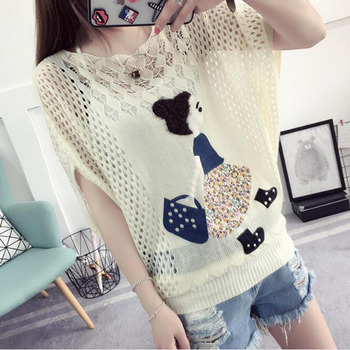 HSPL Summer Crochet Hollow Out Tops Women Mesh Pullover Sweaters Cute Embroidery Causal Knitted Pull Femme