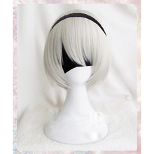 Peluca de Cosplay de alta calidad YoRHa núm. 2 tipo B 2BYoRH 2A 9S 2B Peluca de NieR:Automata, pelucas de juego de disfraces, pelo + gorro de peluca