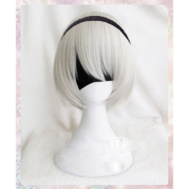 גבוהה באיכות YoRHa מס 2 סוג B 2BYoRH 2A 9S 2B פאת פאת קוספליי NieR: האוטומטים תלבושות לשחק פאות תלבושות שיער + כובע פאה