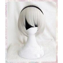 عالية الجودة YoRHa no.2 نوع B 2BYoRH 2A 9S 2B شعر مستعار شعر مستعار تأثيري NieR: autoata زي اللعب الباروكات ازياء الشعر + قبعة شعر مستعار