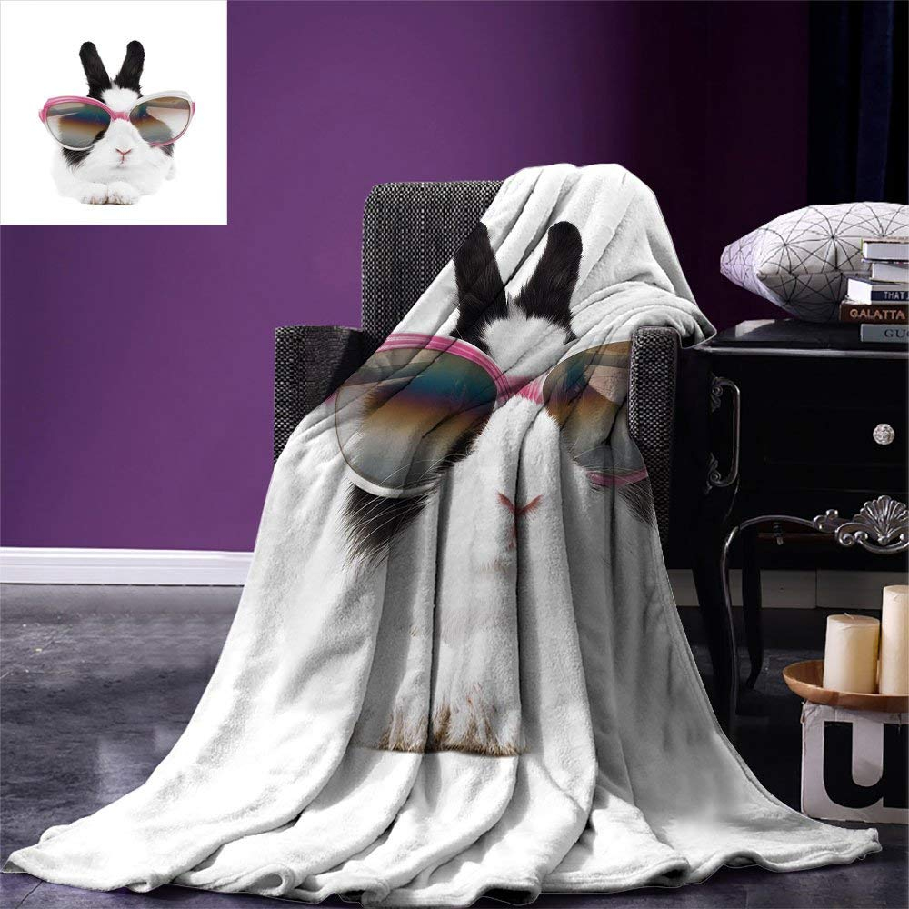 Throw Blankets Us 20 34 45 Off Funny Throw Blanket Little Rabbit In Sunglasses Beauty Bunny Fluffy Creature Pet Portrait Fashion Image Fleece Blankets For Beds In