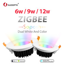GLEDOPTO ZIGBEE ZLL smart 9W LED RGBcct RGB downlight APP controller with Amazon plus LED bulb rgb zll dimmable light AC100-240V(China)