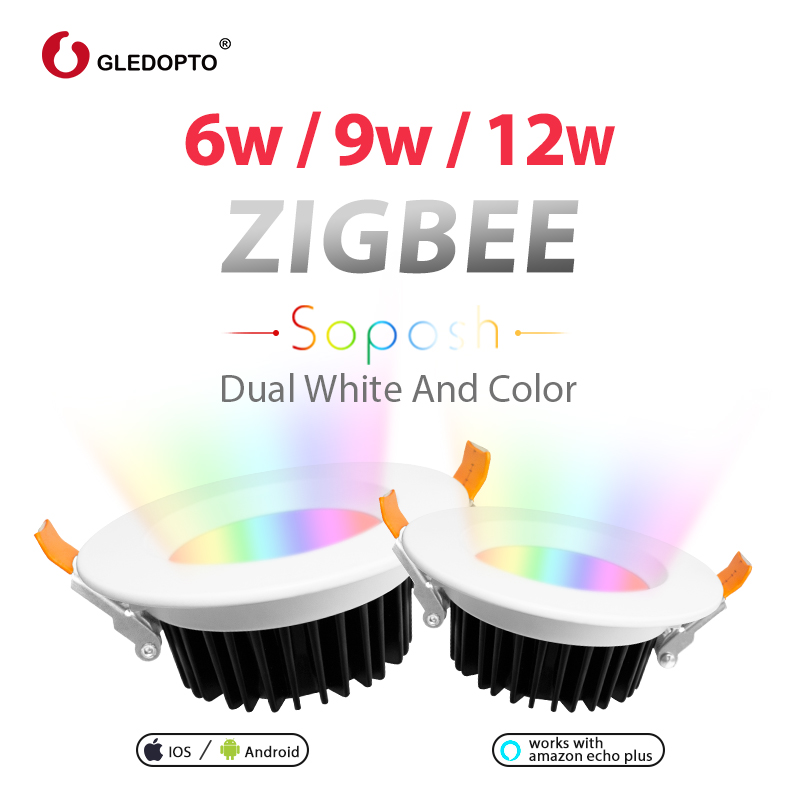 GLEDOPTO ZIGBEE Smart Home  9W LED RGBcct Downlight APP Control Work With Amazon Plus LED Rgb Bulb Dimmable Light Voice Control