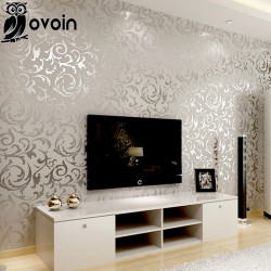 Victorian Damask wallpaper silver leaf scroll background wall paper roll vinyl damask wallpaper bedroom,living room decor