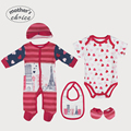 Mother's Choice brand 100% cotton Baby set 5-in-1 Baby Rampers, Bib, Beanie, and Booties