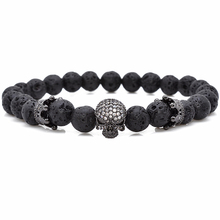 Brand Trendy Natural Beads Strand Bracelet Micro Pave CZ Skeleton Skull Black Lava Rock Stone Energy Men European Buddha Jewelry