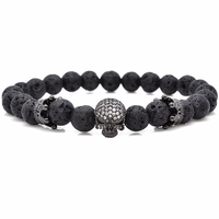 Brand Trendy Natural Beads Strand Bracelet Micro Pave CZ Skeleton Skull Black Lava Rock Stone Energy