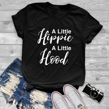 Unisex Short Sleeve Summer Cotton tee A little hippie A little hood Letter Slogan T-Shirt Girl Black Clothes Graphic Outfits Top