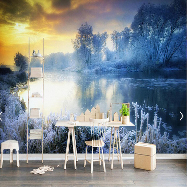 3d natur winter schnee tree see gro e foto tapete wandbild hd tapeten wohnzimmer tv hintergrund. Black Bedroom Furniture Sets. Home Design Ideas