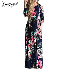 2018 RUIYIGE Summer Floral Print Beach Dress Boho Holiday Hot Long Maxi Dresses Ice Milk Silk High Waist Tunic Pocket Sundress