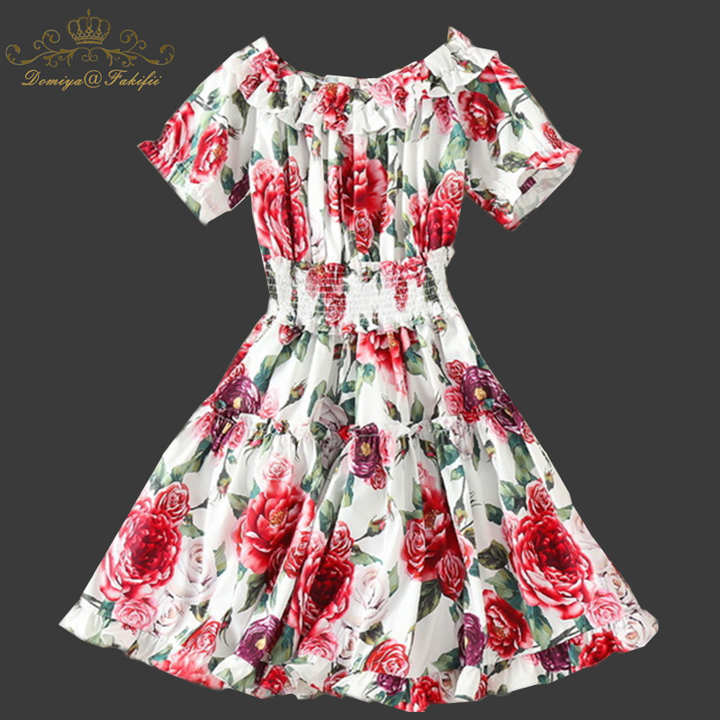 2018 Summer Girl Party Dress Women Casual O neck Beach Dress Sleeveless Flower Print Sweet Slim Dresses Plus Size Familly Dress sweet round collar flower and leaves print sleeveless dress for women