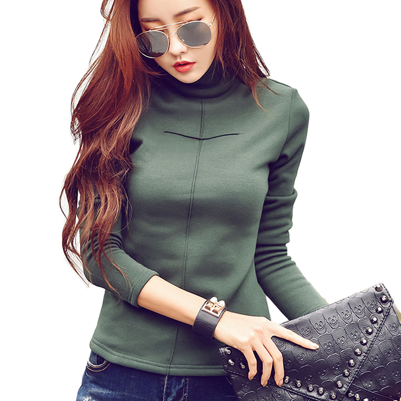 2019 Autumn Winter Elegant cotton blouses warm velvet Turtleneck blouse shirt women tops plus size women clothing blusas in Blouses amp Shirts from Women 39 s Clothing