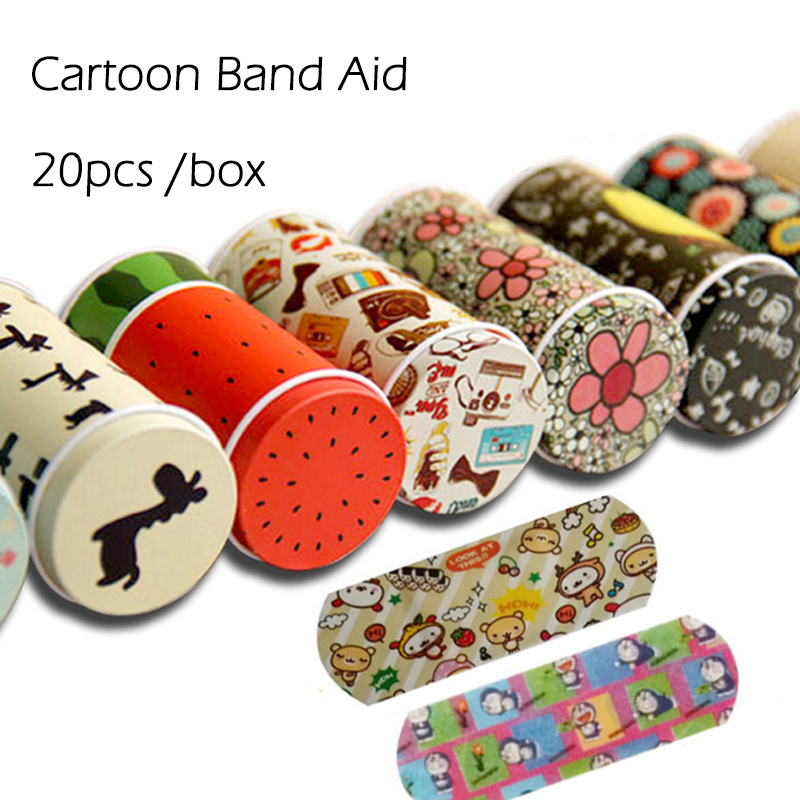 20 PCS /box Korean Cartoon Cute Tin Paste Breathable Waterproof Band Aid Bandages Hemostasis First Aid Kit For Kids Children 100pcs waterproof breathable cute cartoon band aid hemostasis adhesive bandages first aid emergency kit for kids children