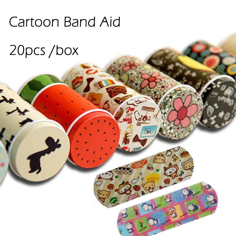 20 PCS /box Korean Cartoon Cute Tin Paste Breathable Waterproof Band Aid Bandages Hemostasis First Aid Kit For Kids Children