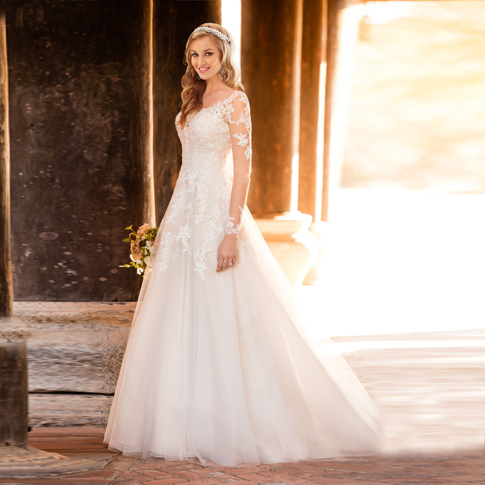 A Line Wedding Gown With Sleeves: New Arrival Princess Bridal Gown With Sleeves V Neck