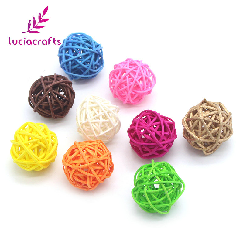 Lucia Crafts 12pcs 5cm/25pcs 3cm Mixed Sepak Takraw Ball Rattan Balls DIY Christmas Party Home Decoration Accessories 024053