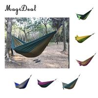 MagiDeal Double Person Portable Parachute Nylon Travel Camping Hammock With Climbing Rope Carabiner 270cm X 140cm