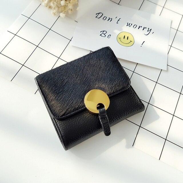 2018 Winter Women LYDIAN Fur Purse famous Designer Leather  Wallet Cowhide Horse Wallet Real Leather Coin Case Black Purse Bag