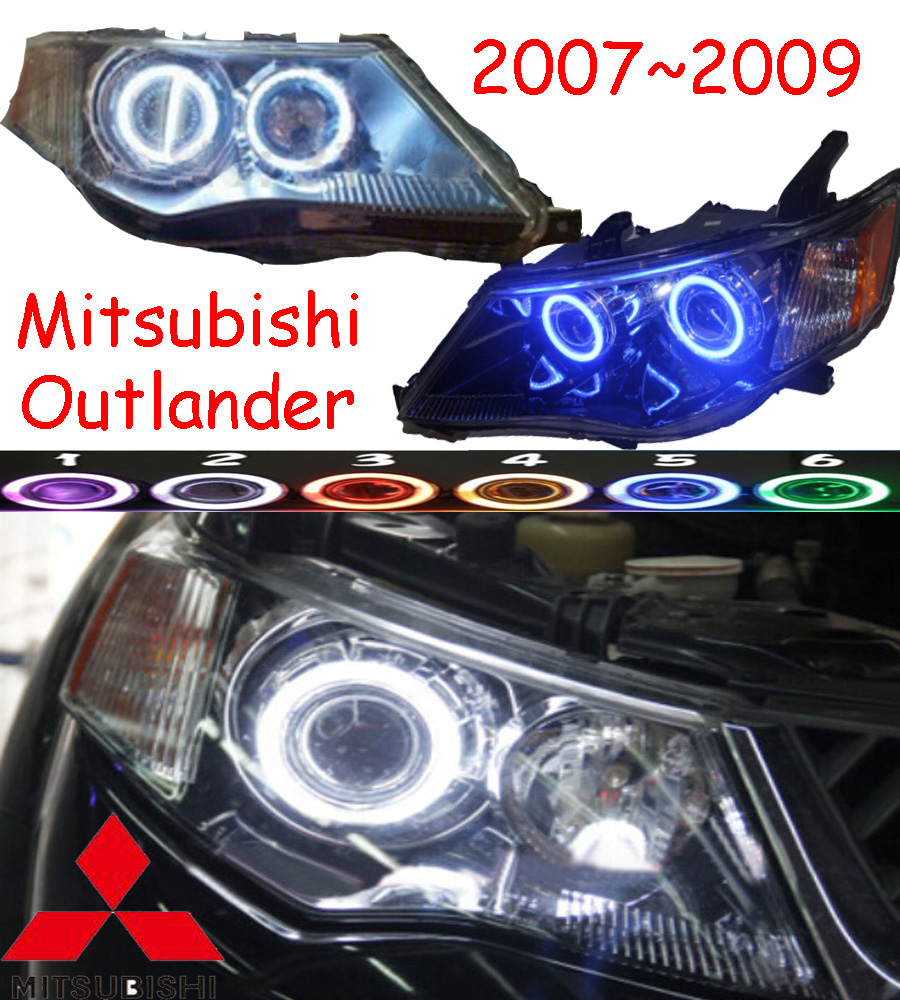 Mitsubish Outlander headlight,2007~2009 (Fit for LHD&RHD),Free ship! Outlander headlight,2ps/se+2pcs Aozoom Ballast,Outlander EX mitsubish grandis headlight 2008 fit for lhd