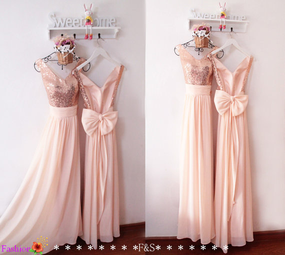 Latest Design Light Pink Sparkly Open Back Chiffon