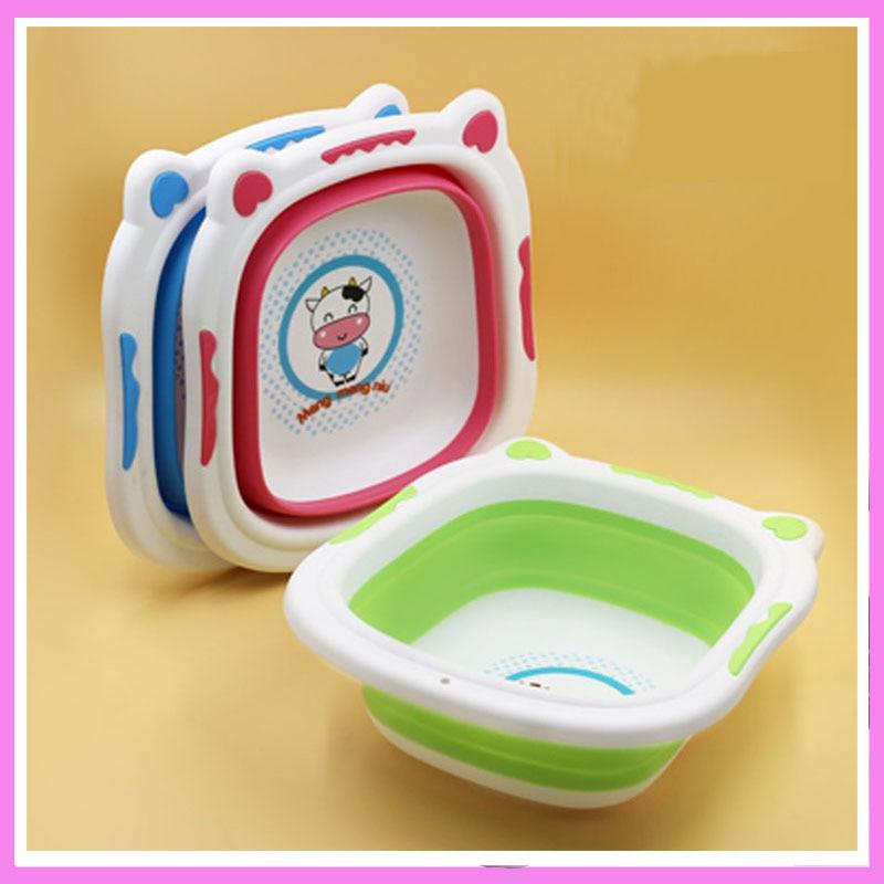 Foldable Baby Wash Tub Basin Children Washbasin Newborn Bathtub Cartoon Bath Basins Foldable Water Washbasin Portable Camping