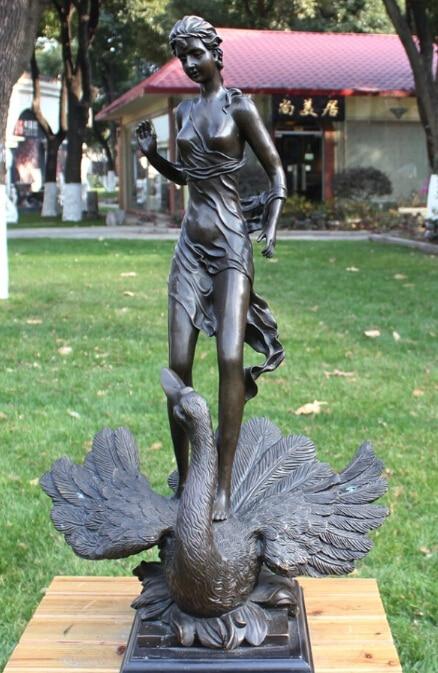free 28 Art Decoration Sculpture Western Bronze Copper Marble Swan Woman Girl Statue fast