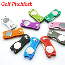 1Pcs Stainless Steel Golf Pitchfork Putting Green Fork Golf Training Golf Divot Repair Switchblade Tool Pitch Groove Cleaner(China)