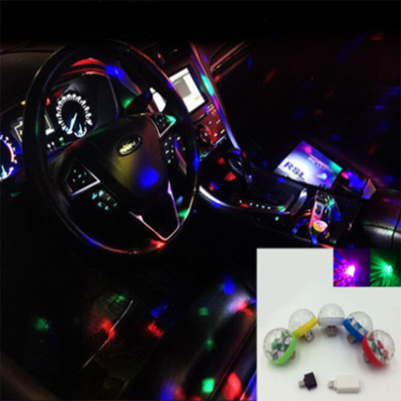 Car Crystal DJ Ambient Magic Changing-Sound Mini Super Color Led Light Romantic Actived