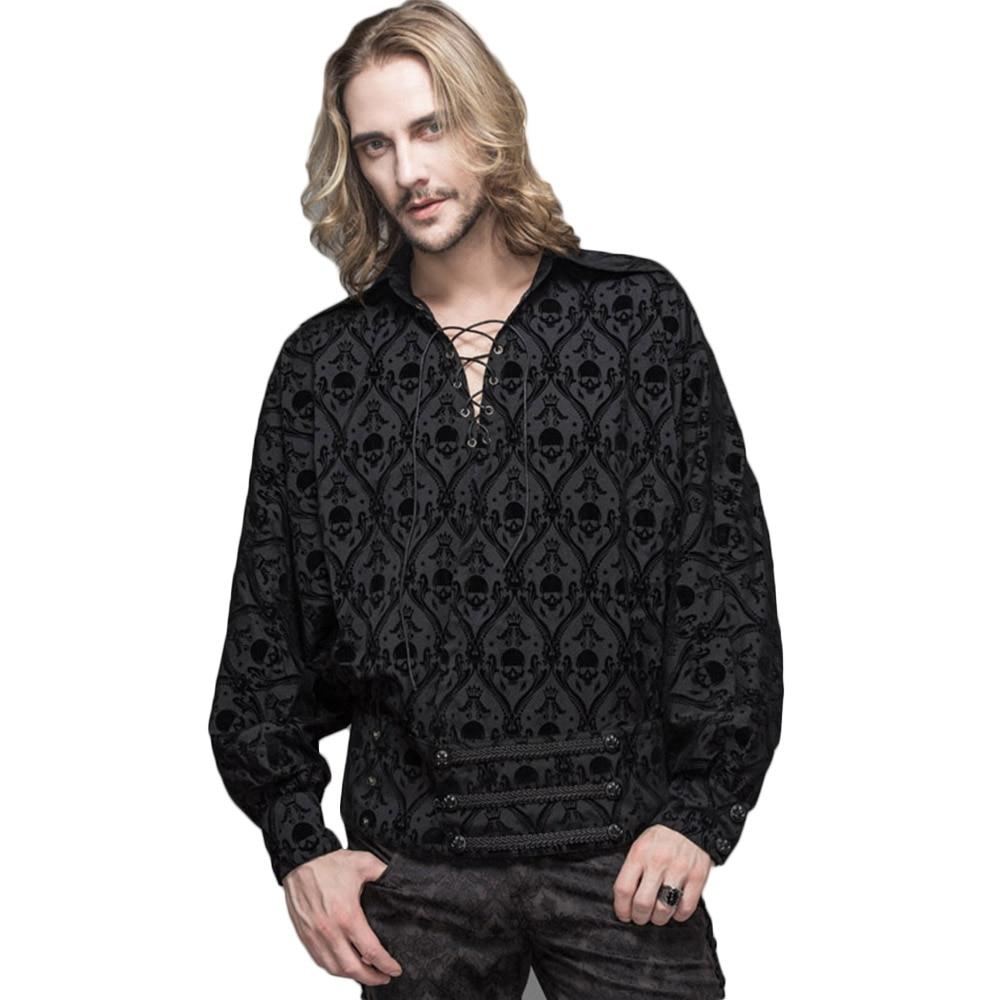 Punk gótico hombres Casual camisas primavera cráneo estampado vendaje camisas victorianas Retro botón abajo vestido camisa
