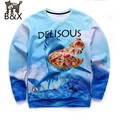 2016 New hoodies men tops clothes funny print the Sea shark eating delisous Pizza 3d printing sweatshirts