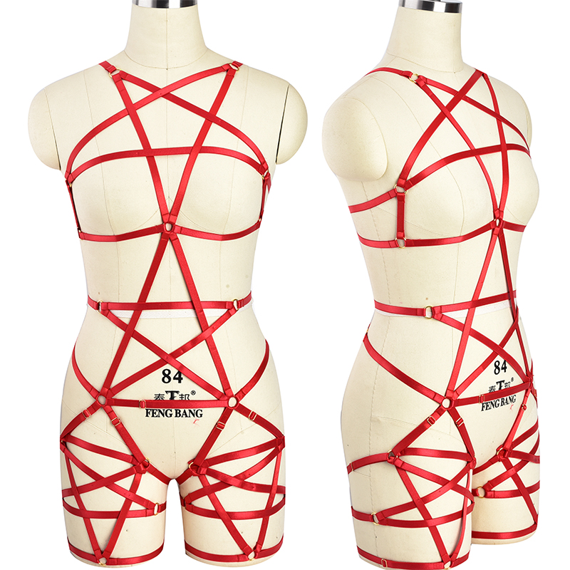 Red Pentagram Body Harness Punk Pole Dance Gothic Harness Bra Rave Pentagram Leg <font><b>Garter</b></font> Belt Bondage Sexy <font><b>Lingerie</b></font> set image