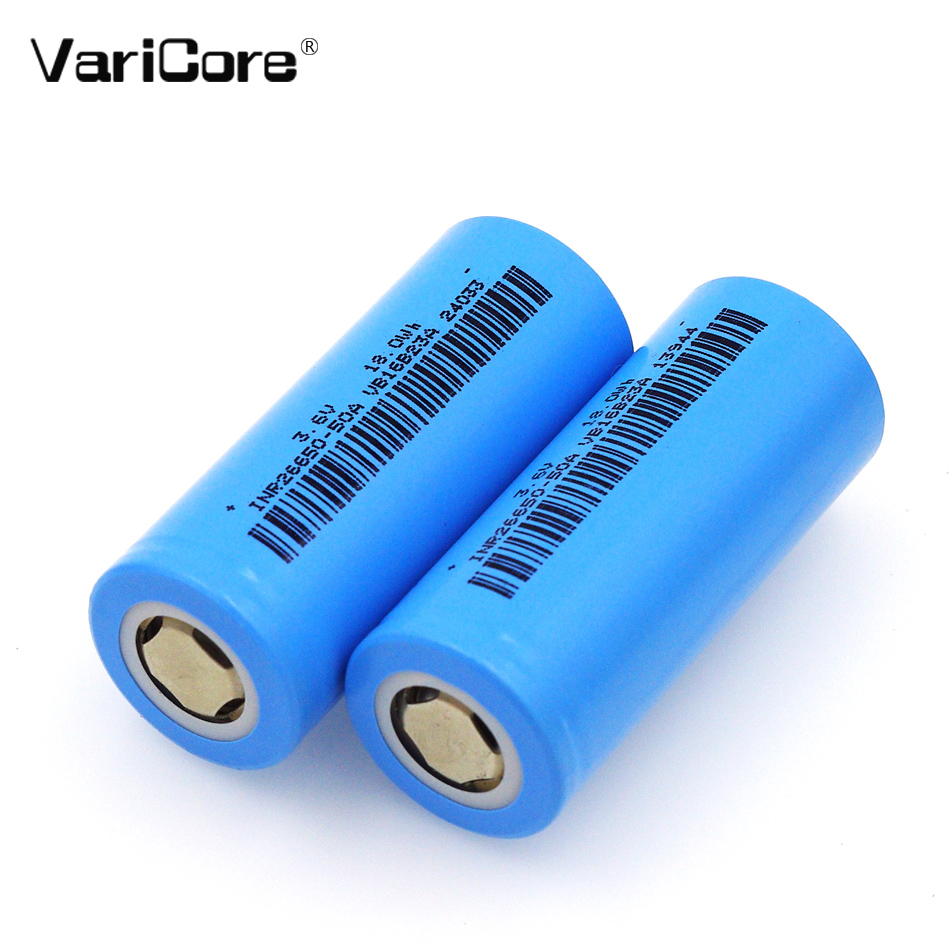 6 PCS. VariCore 26650 rechargeable battery, 26650 lithium battery, 3.7 V 5000mA 26650-50A blue. new liitokala 26650 battery 26650a lithium battery 3 7v 5100ma 26650 50a blue power battery suitable for flashlight