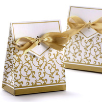 Wedding Favour Candy Boxes Gift Boxes With Ribbons 50pcs Gold Boxes Wedding Party Favor With Ribbon