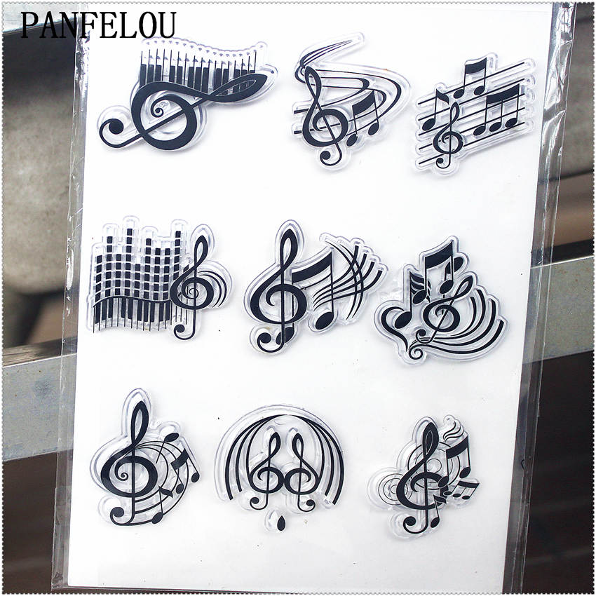 PANFELOU 11.3*15.56cm Series of music notes Transparent Silicone Rubber Clear Stamps cartoon for Scrapbooking/DIY  wedding album laboratory pipette silicone rubber head dropper cap thick rubber latex tips for 1ml pipettes pack of 50 piece