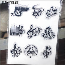 PANFELOU 11.3*15.56cm Series of music notes Transparent Silicone Rubber Clear Stamps cartoon for Scrapbooking/DIY  wedding album