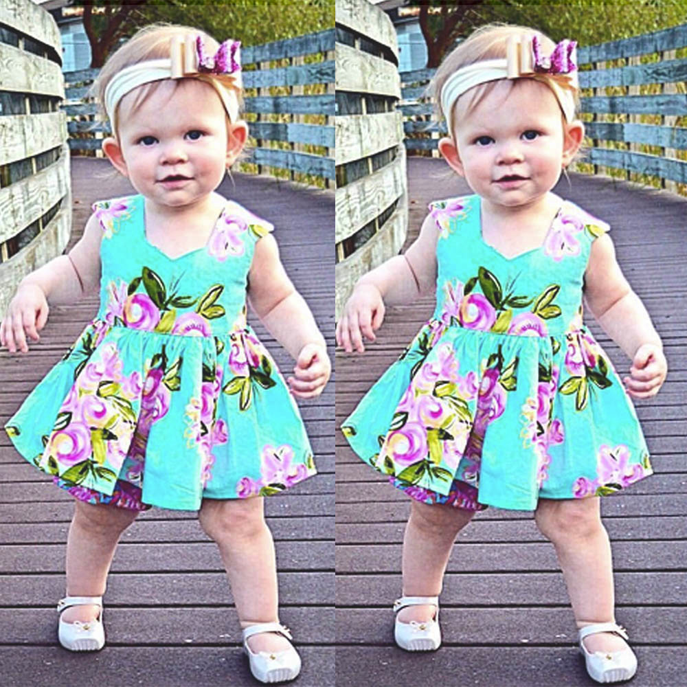 Children Dresses Kids Girl Sleeveless Flower Print Cotton And Linen Floral Dress Baby Girl Spring Summer Dresses For Girls Mother & Kids