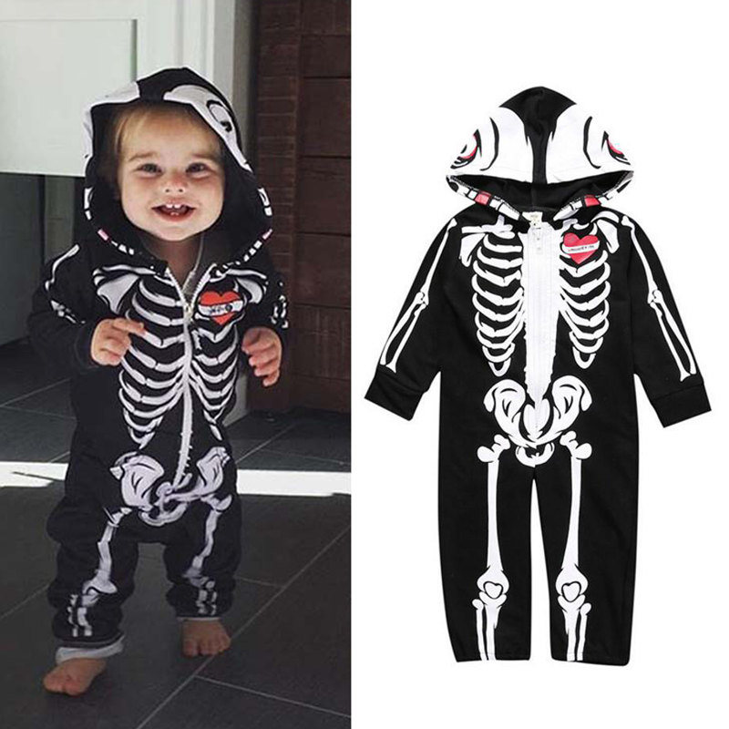 Baby Kids Halloween Clothing Skull Print Toddler Boys Girls   Rompers   Hooded Jumpsuit Bebe Skull Trick Clothes Zipper Outfits