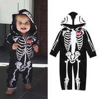 Crianças Halloween Roupas Cópia Do Crânio Da Criança Das Meninas Dos Meninos do bebê Macacão Com Capuz Macacão Bebe Roupas Com Zíper Roupas Crânio Truque