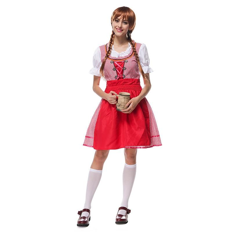 Oktoberfest Beer Festival October Dirndl Skirt Dress Apron Blouse Gown Red Lattice  German Bavarian Costume Girl Women