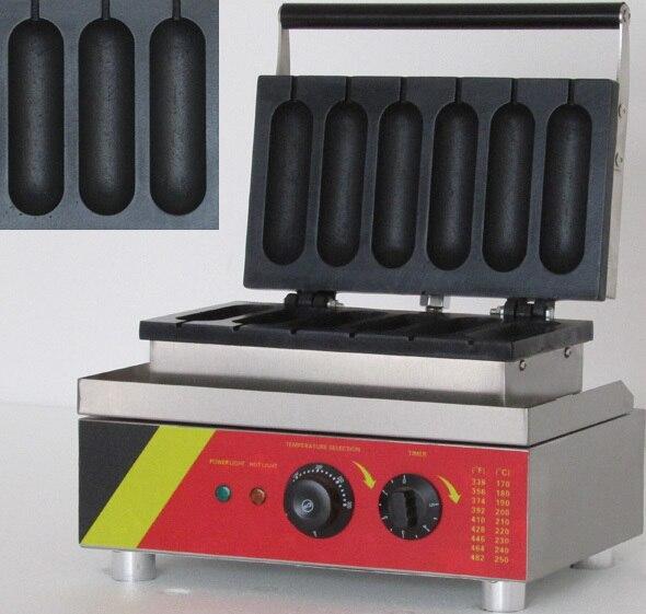 Six pièces modèle commercial hotdog gaufrier _ lolly gaufrier machine
