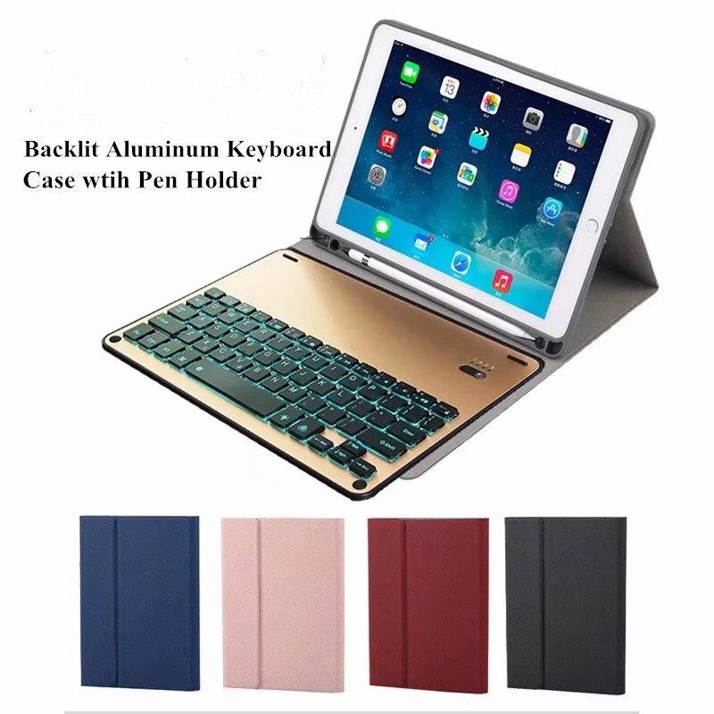 Pour ipad pro 10.5 clavier Ultra-mince métal Bluetooth support de clavier flip Case couverture pour Pad pro 10.5 tablette Funda porte-stylo