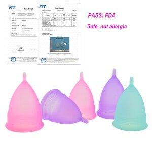 Image 5 - 100 pz/lotto Commercio Allingrosso riutilizzabile copo mestruale in silicone copa mestruale coupe menstruelle mestruazioni tazza di gel di silice della tazza della signora