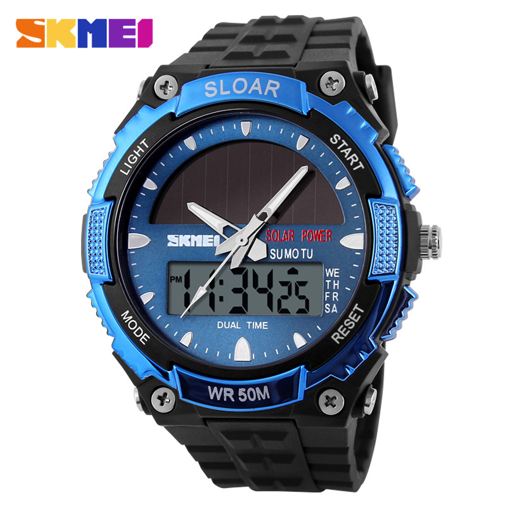 Men's Watches Amiable 2019 Solar Power Watch Skmei Brand Men Sports Watches 2 Time Zone Digital Quartz Multifunctional Outdoor Dress Wristwatches 1049 Relieving Heat And Thirst.