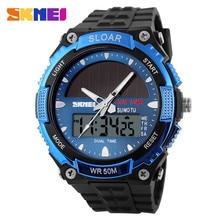 цены 2019 Solar Power Watch SKMEI Brand Men Sports Watches 2 Time Zone Digital Quartz Multifunctional Outdoor Dress Wristwatches 1049