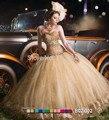2016 nuevo oro de la llegada Sweetheart Quinceanera vestidos cristales brillantes y lentejuelas princesa balón vestido Glitter vestido de baile vestido