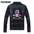 2016 New Style Men's Long Sleeve Denim Jacket Coat Men Jeans Outerwear Male Personalized Jackets Denim coats Skull jackets men 7