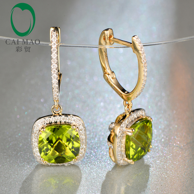 Caimao 14k Yellow Gold Natural Flawless 5 07ct Cushion Cut Peridot Diamond Engagement Drop Earring