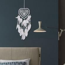 Atrapasueños de plumas de encaje hecho a mano cadena colgante atrapasueños decoración de habitación regalo ornamental Vintage campanas de viento
