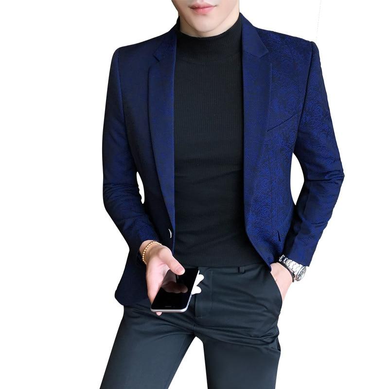 TFETTERS 2019New Arrival Men Blazer Luxury Wedding Suit Blazer Floral Slim Fit One Button Casual Blazzers For Men